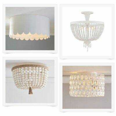 Collage of flush mount white light fixtures
