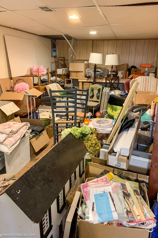 Cluttered basement before kid-friendly basement makeover