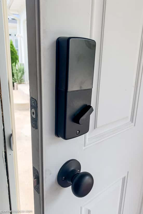 Smartlock door knob installed leading out to patio