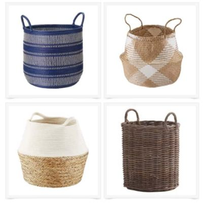 Collage of four baskets for organizing around the house