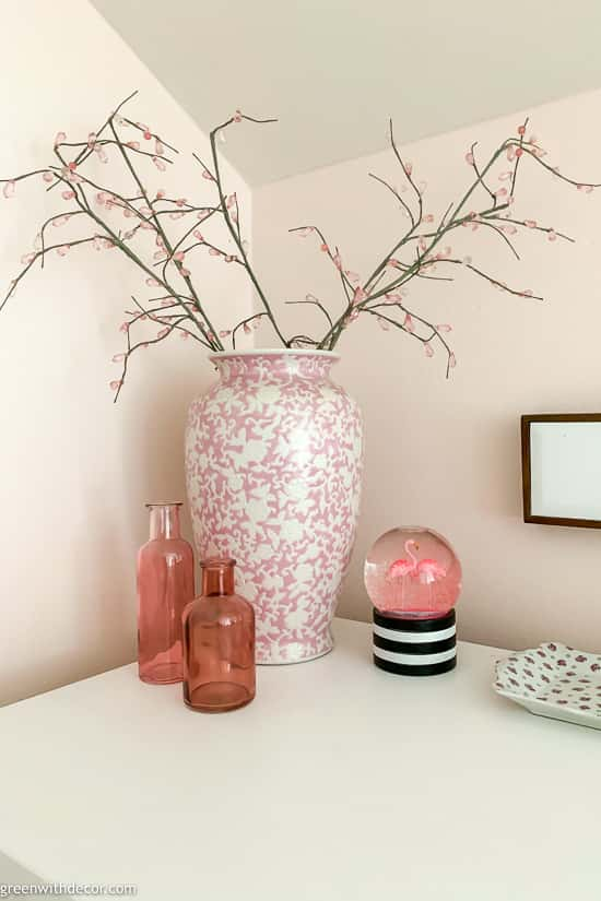 Pink + white vases for girl's pink nursery