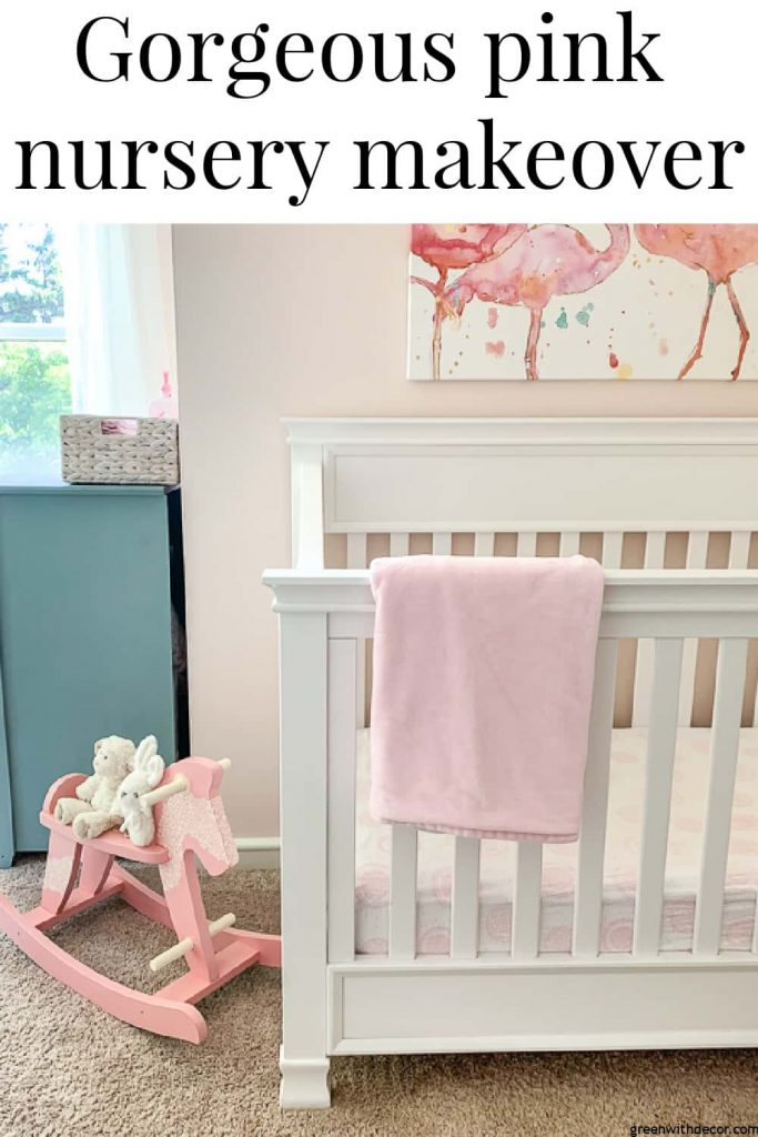 "Pink nursery with text overlay, ""Gorgeous pink nursery makeover"""