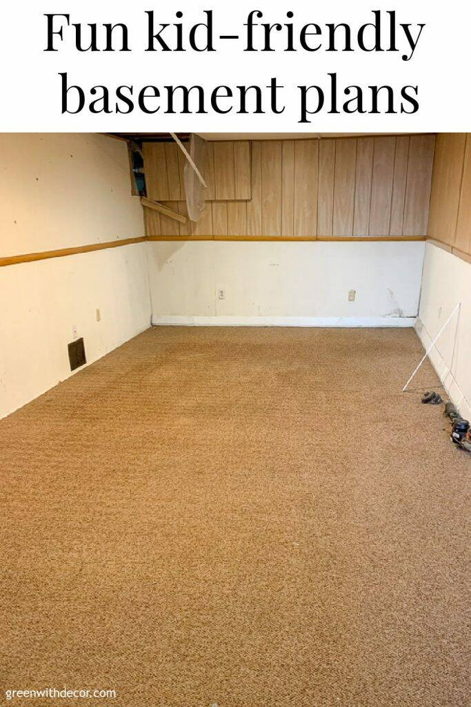 "Empty basement with text overlay, ""Fun kid-friendly basement plans"""