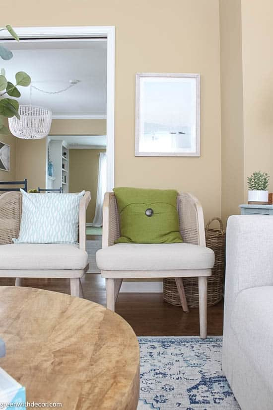 Coastal chairs + hidden basket for storage in small family room