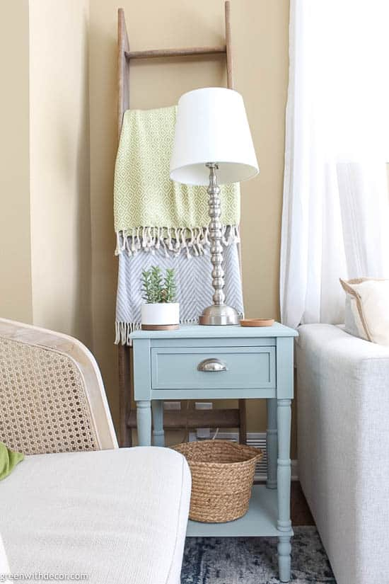 Blue coastal end table with drawer for storage