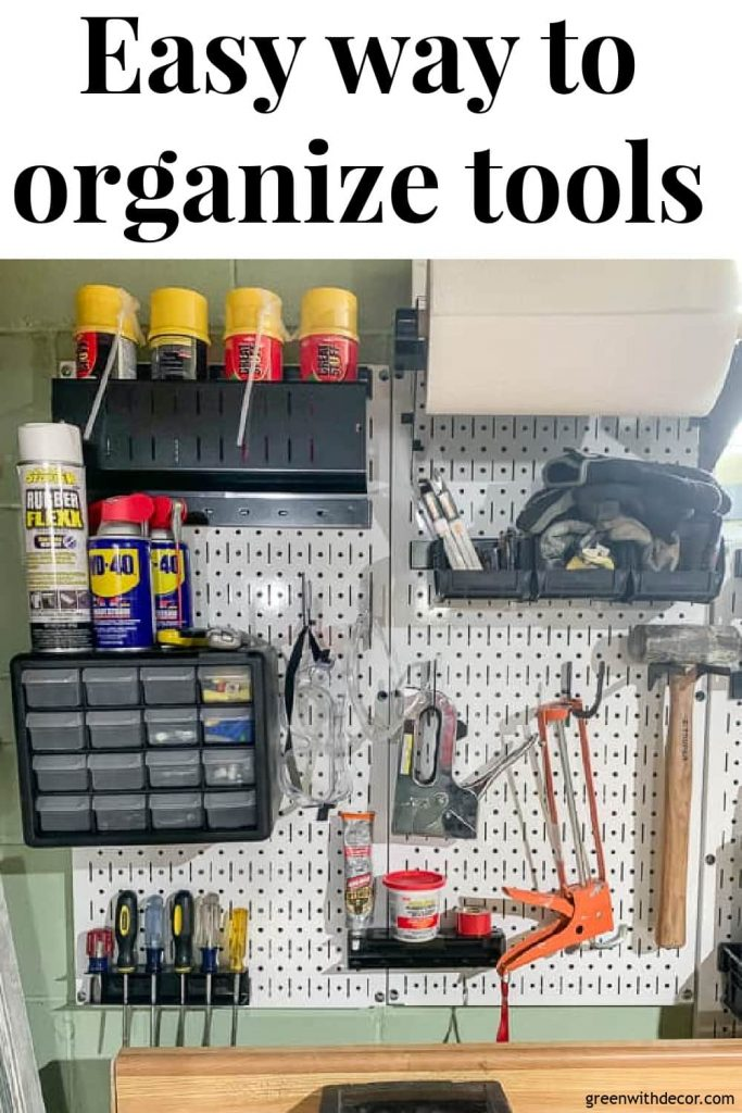 "White pegboard with text overlay, ""Easy way to organize tools"""