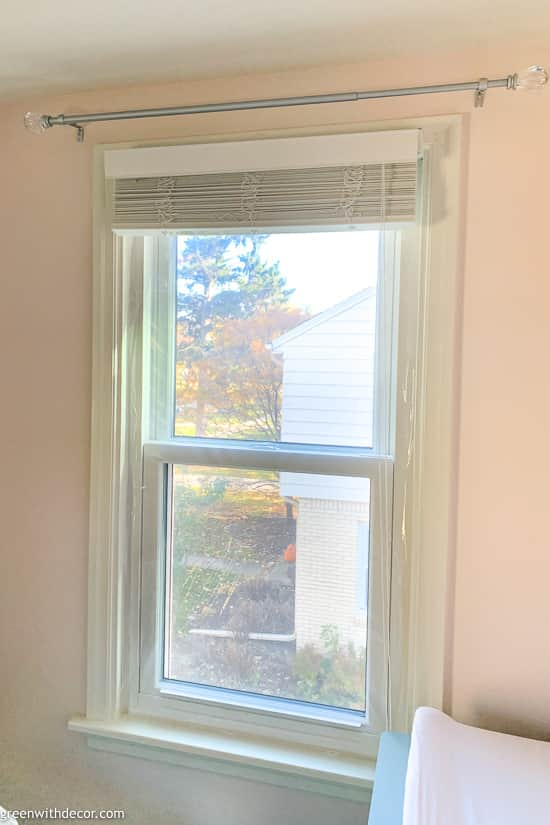 Window with window insulation kit installed