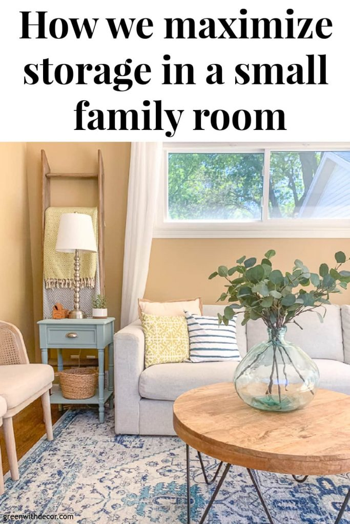 "Family room with ladder shelf with text overlay, ""How we maximize storage in a small family room"""