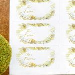 Wreath gift tags on white labels