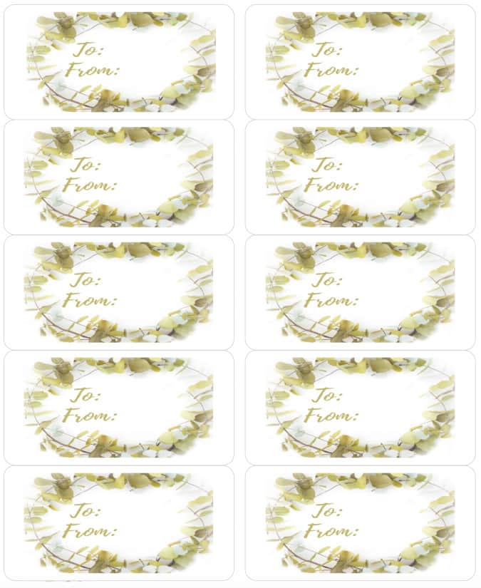 Wreath free printable gift tags