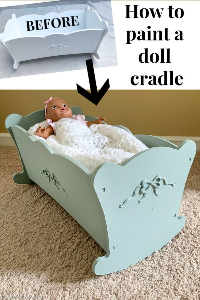 "Doll cradle before/after collage with text overlay, ""How to paint a doll cradle"""